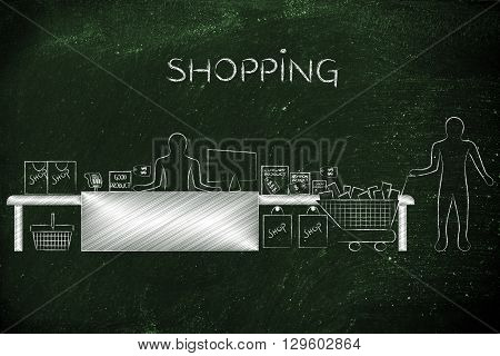 Cashier And Customer With Shopping Cart, Caption Shopping