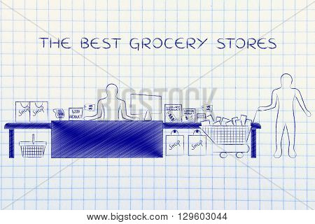 Cashier And Customer With Shopping Cart, Best Grocery Stores