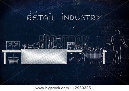Cashier And Customer With Shopping Cart, Retail Industry