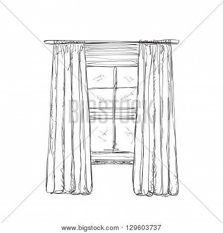 Illustration of window and curtains sketch. Interior