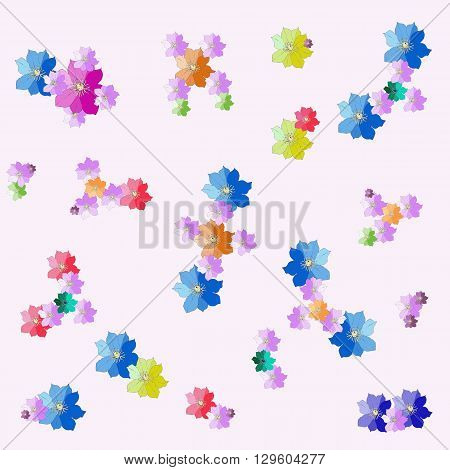 Cheerful fabric with molecules from hand drawn flowers. Vector illustration.