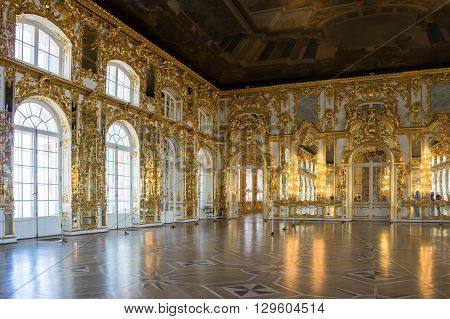 SAINT-PETERSBURG RUSSIA - March 14 2015: Interior of one of the halls in Catherine's Palace in Tsarskoye Selo (Pushkin) 30 km south of Saint- Petersburg Russia