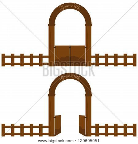 Vintage Village or farm Wooden Gate arch design with wood fence. Vector Illustration solid flat color design. Doors with opened and closed position