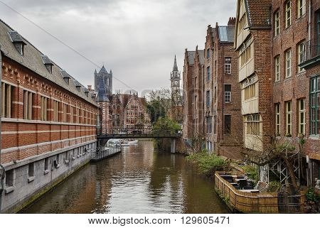view of channel in historic center of Ghent Belgium