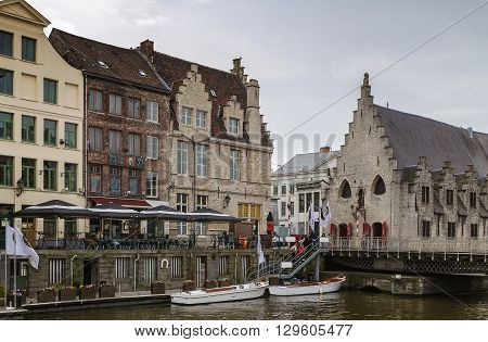 historical houses on Lys river embankment in Ghent Belgium