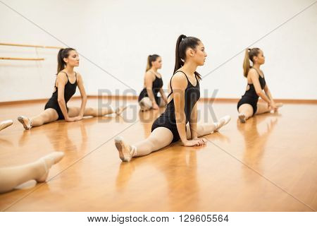 Group of female dancers doing some stretching exercises and warming up for their dance practice
