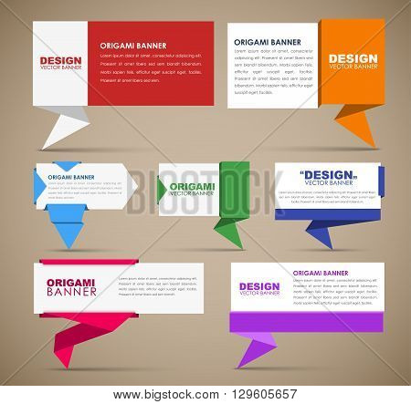 Big set of web banners in origami style. Banner with leg for quotes different colors and different shapes. Template origami banners for advertising. Vector illustration
