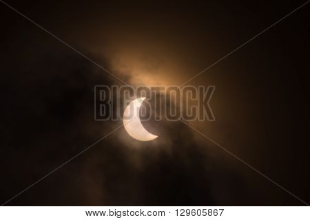 Partial solar eclipse on 20 of March 2015 in Saint-Petersburg Russia