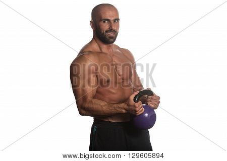 Exercise With Kettle Bell Over White Background