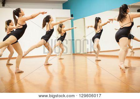 Young Women Rehearsing A Dance Routine