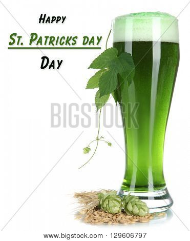 Glass of green beer and hops, isolated on white
