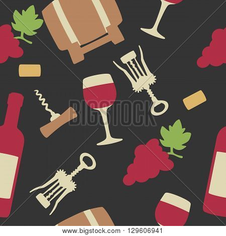 Seamless pattern with set wine icon. Bottle glass of wine cork corkscrew bunch of grapes. Vector flat illustration. For web info graphics for wine shop. Vector. Isolated black background.