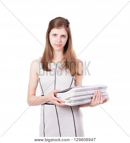 Nice female student smiling and looking at camera. Stock image.