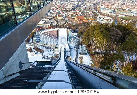 Innsbruck Austria - February 8 2010: Panoramic wiew over the sports and the city from Bergisel skijamping stadium