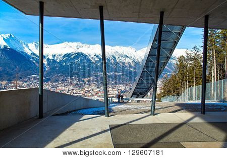 Innsbruck Austria - February 8 2010: Panoramic wiew over the the city from Bergisel skijamping stadium
