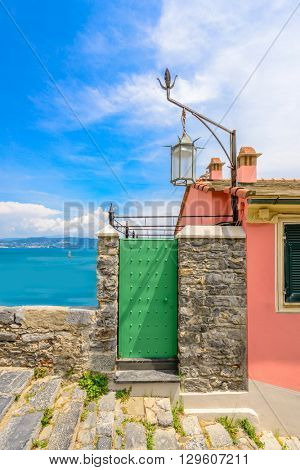 Entrance of a colorful apartment building in Italy, Portovenere.