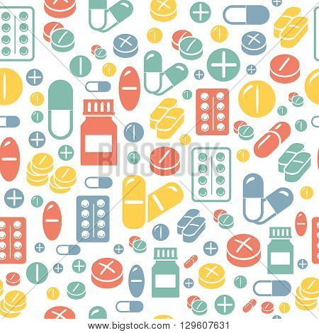 Medical pills and capsules seamless pattern. Colorful pharmacy background. illustration