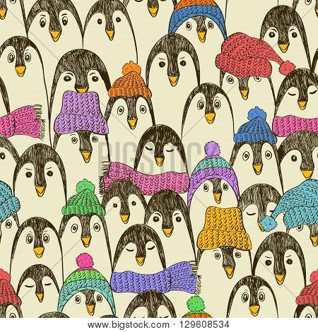 Retro seamless pattern with cute hand drawn penguins in hats and scarfs. Colorful penguin background.