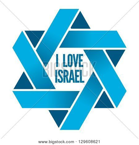 Israel or Judaism logo with Magen David sign. David star, magen david star, judaic david star, sign hexagram, religious david star illustration