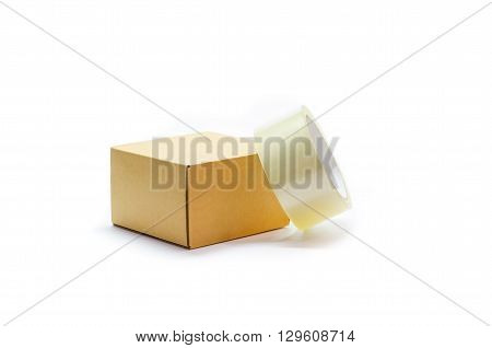 Cardboard box and a roll of duct tape on a white background