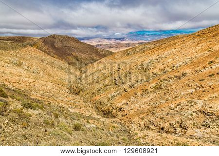 Typical Landscape From Sicasumbre Viewpoint - Fuerteventura Canary Islands Spain