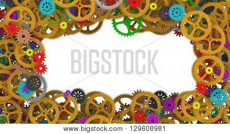 Frame from multicolored cogwheels. Background image from multicolored gears and cogwheels of different sizes. 3D Illustration. Technologies and mechanism background