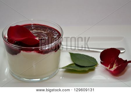 Yogurt with homemade wild berry cream - copy-space