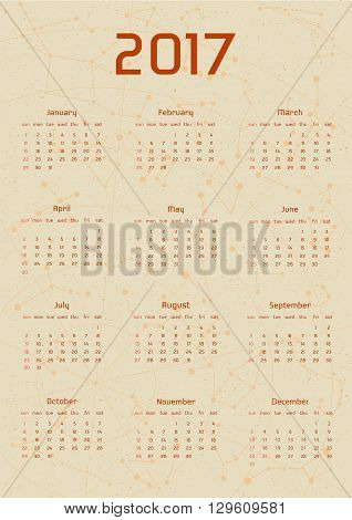 Vector calendar for 2017 in the retro style. Calendar with the image of the constellations on brown circle and beige scratched background. Elements for creative design ideas of your calendar