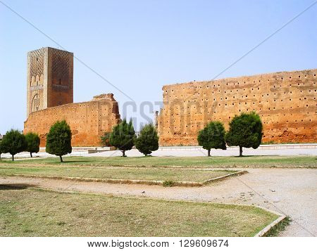 Mosque of Yakub al-Mansour and Hassan Tower. Rabat. Morocco