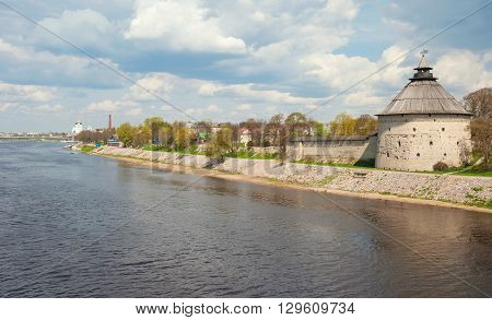 Ancient tower of the Kremlin in the old Russian city of Pskov