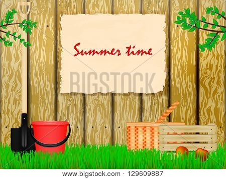 Vector illustration of a suburban area with a sign on the fence. Summer time. Time to the summer cottage.