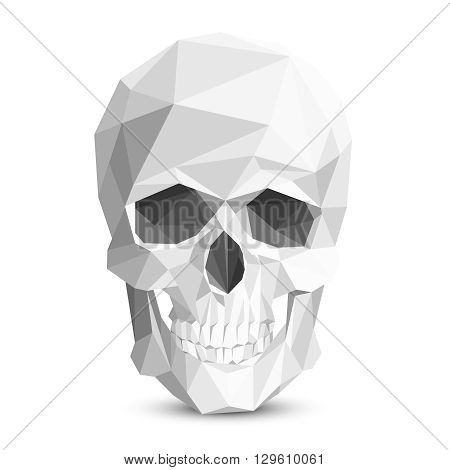 Colorful geometric low poly skull. Vector triangular skull. Human head skull, skeleton polygon skull, eye socket and tooth skull illustration