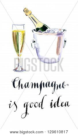 Glass of champagne with bottle in metal container watercolor hand drawn - Illustration