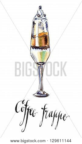 Wineglass of cold coffee frappe hand drawn - watercolor Illustration