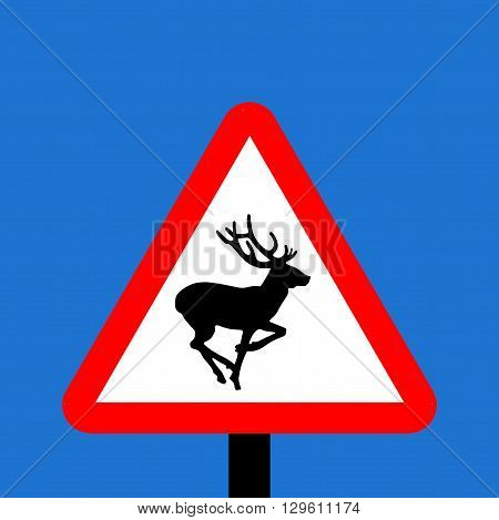 An illustration of a Warning triangle Wild animals sign