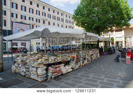 ROME, ITALY - APRIL 25:  Small outdoors book shop at Piazza Flaminio in Rome Italy.  April 25, 2016 in Rome, Italy