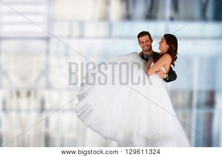 Bride and groom together after getting married