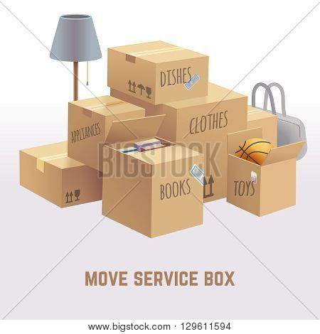 Move service box, package, cargo vector concept. Package move delivery, receive box, deliver box, goods box parcel, container box move illustration