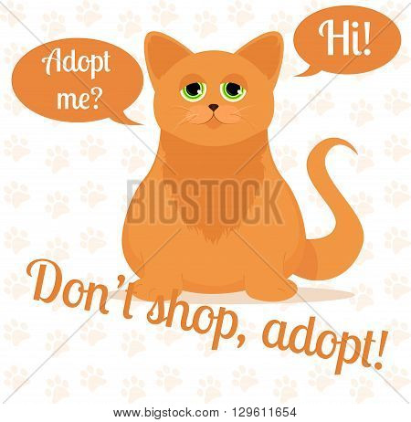 Cat in a cartoon style. Do not shop adopt. Cat adoption concept. Vector illustration