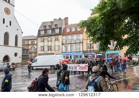STRASBOURG FRANCE - MAY 12 2016: Closed central street as thousand of people demonstrate as part of nationwide day of protest against labor reforms by France Government