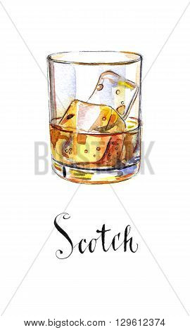 Glass of scotch whiskey brandy with ice cubes hand drawn - watercolor Illustration