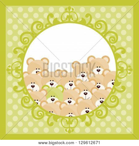 Scalable vectorial image representing a teddy bears on green background.