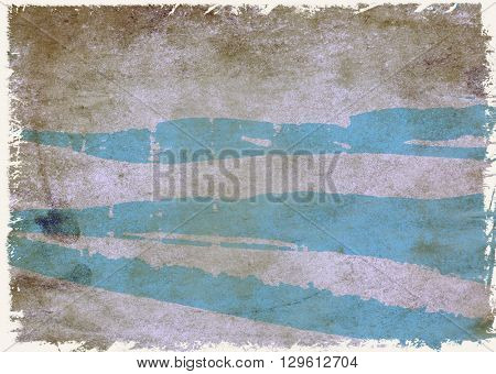 Section of textured surface with cyan streaks and grunge white edges