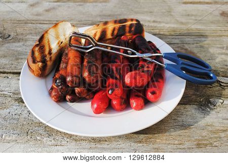Grilled Hotdogs with Toasted Buns Ready to Serve at a Cookout