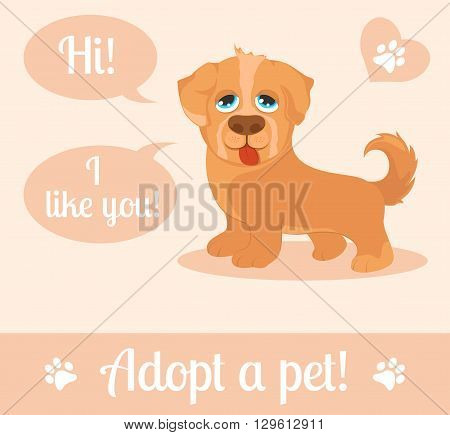 Dog in a cartoon style. Do not shop adopt. Dog adoption concept. Vector illustration
