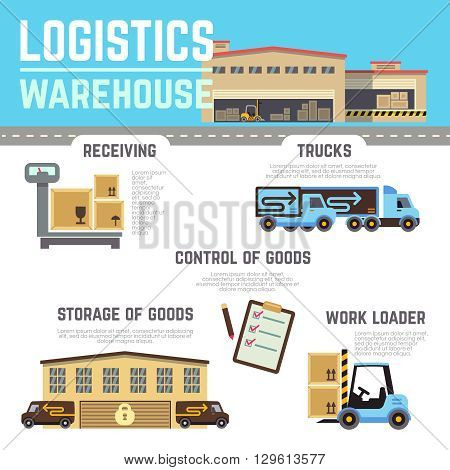 Warehouse cargo, logistic vector infographics. Logistic warehouse, logistic transportation, logistic industry, logistic service illustration