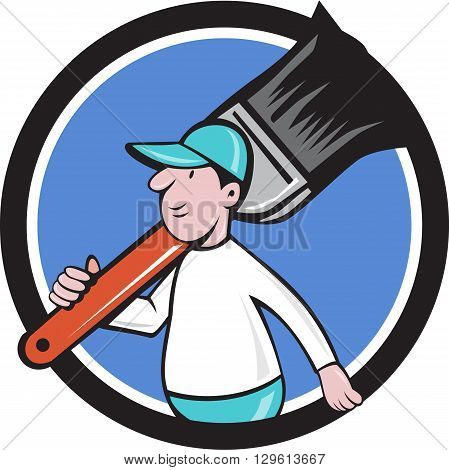 Illustration of a house painter walking carrying giant paintbrush on shoulder viewed from the side set inside circle on isolated background done in cartoon style.