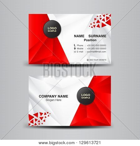 business card template vector illustrationgreen polygon background flyer design name card template vector illustration