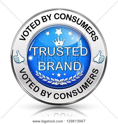 Trusted Brand. Voted by consumers - shiny blue icon.