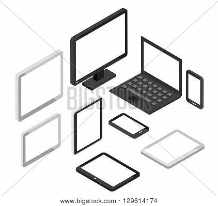 Isometric 3d computer and laptop, tablet pc and smartphone vector icons. Isometric device, tablet icon, laptop icon illustration
